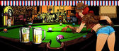 The game of billiards in the bar Vector illustration