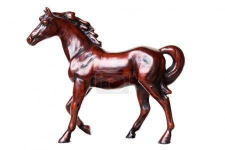 Walking horse sculpture isolated on white backgrou...
