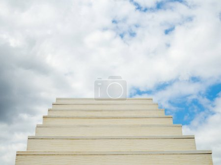 Photo for White ladder of success With a sky background - Royalty Free Image