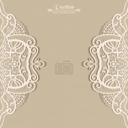Illustration for Abstract background, wedding invitation or greeting card design with lace pattern, beautiful luxury postcard, ornate page cover, ornamental vector illustration - Royalty Free Image