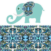 Cartoon elephant with tribal ethnic ornament geometric seamless pattern