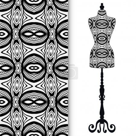 Vintage tailors dummy, seamless floral geometric pattern