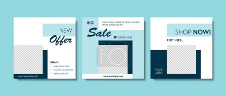 Illustration for Elegant trendy social media templates vector design, blue, grey and white color background with square elements, abstract graphic for digital marketing, offer, business layouts facebook and instagram - Royalty Free Image