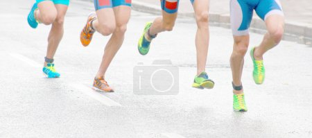 Running colorful feet and legs