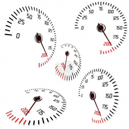 Abstract speedometers, normal and perspective view...
