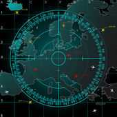 Blue radar screen over square grid lines and map of Europe territory with smooth light beneath vector