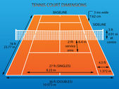 Tennis court with dimensions (clay)