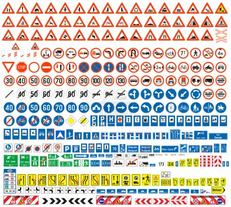 Illustration for European traffic signs collection. Signs of danger. Mandatory signs.Signs of obligations. Signs of alerts. Supplementary tables. Tables of routing. Temporary traffic signs. 308 signs, vector. - Royalty Free Image