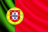 Waving flag of Portugal, vector