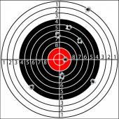 Shooting target, with holes pierced by bullets, vector