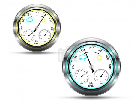 Two barometer instruments,with light indicator in two colors, depending on air pressure, with metal frame, isolated on white,vector