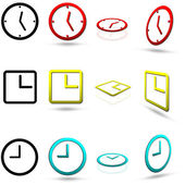 Set of twelve clock icons, in various colors, also in normal and perspective views, isolated on white