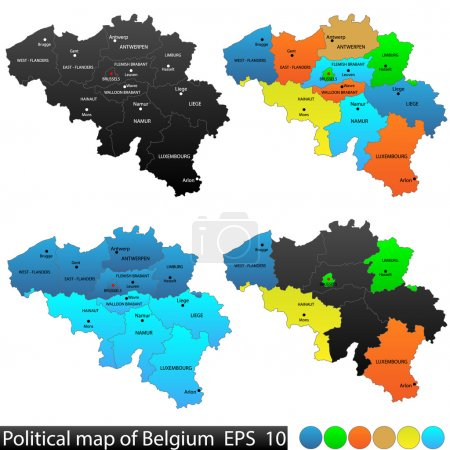 Political and location map of Belgium. Versatile file, every piece is selectable and editable in layers panel. Turn on and off visibility of every province in one click. Vector, eps 10.