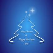 Christmas greeting card, Abstract Christmas tree with Merry Christmas and Happy New Year 2015 text, on blue background