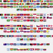 Flags of the world, all sovereign states recognized by UN, collection, listed alphabetically by continents, eps 10