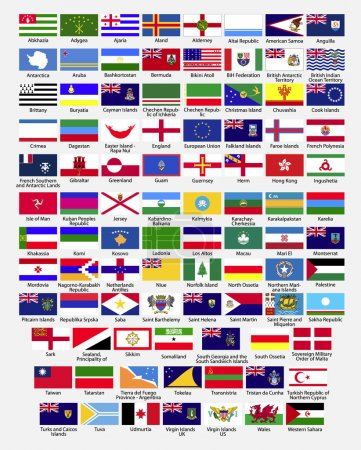Flags of the world, dependencies, provinces, islands, territories, disputed territories, regions, non recognized by UN, self proclaimed, collection, eps 10