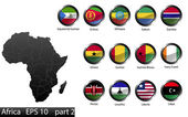 High detailed national flags of African countries, clipped in round shape glossy metal buttons, vector, part 2