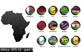 High detailed national flags of African countries, clipped in round shape glossy metal buttons, vector, part 3