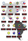 Countries flags with official currency symbols South America and East Caribbean dollar countries