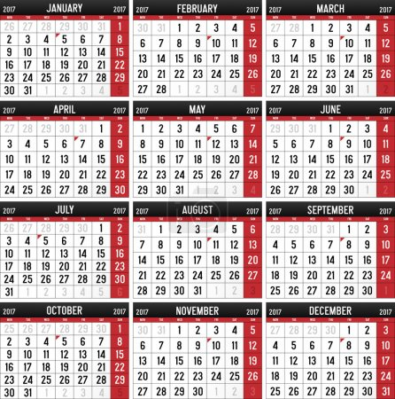 Calendar for the year of 2017