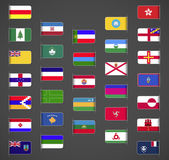 World flags collection regions provinces islands self proclaimed non recognized in UN part 2 Labeled in layers panel Flags on the right hand side reflected around vertical axis