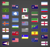 World flags collection regions provinces islands self proclaimed non recognized in UN part 1 Labeled in layers panel Flags on the right hand side reflected around vertical axis