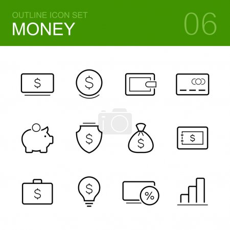Money vector outline icon set