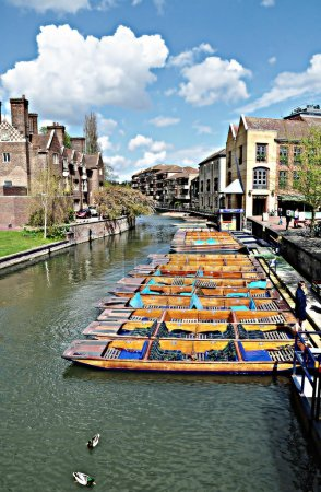 Empty boats on river, Cambridge