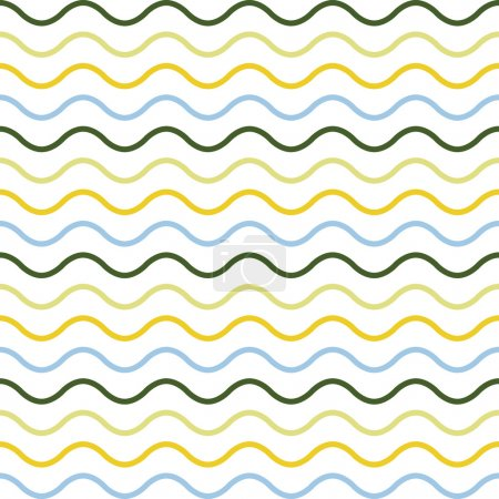 Seamless pattern of colorful waves. Used wavy lines in different colors. Arranged with a certain rhythm