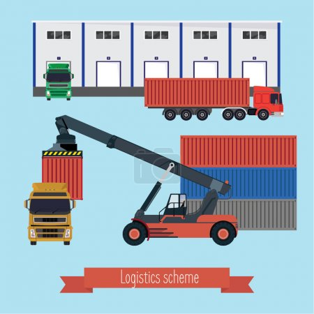 Illustration for Illustration logistic stages. The port forklift loading the container on the truck. Trucks bring containers to the warehouse and unloaded. Light background. - Royalty Free Image
