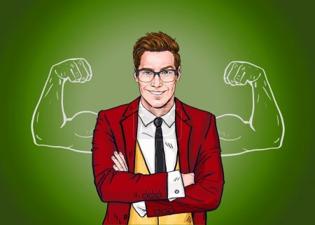 Photo for Strong Businessman in  glasses in comic style.Success .Worker. Concept, journalist, movie, smart, corporate, elegant, job, face, pop, glasses, man, necktie, Hollywood, boss, speech bubble, advertising - Royalty Free Image
