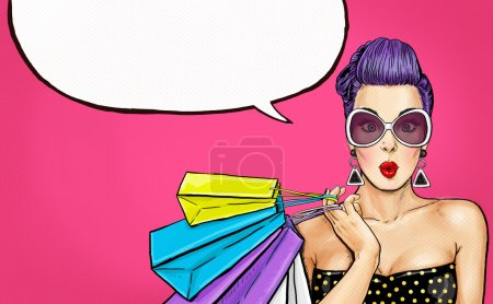 Pop Art girl with shopping bags. Comic woman. Sexy girl. Gift, amazed, wow, cute, lips, face, wow, makeup, wonder, temptation, luxury, birthday, vintage, voucher, love, boutique, cheeks, bubble