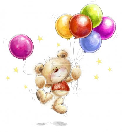 Cute Teddy bear with the colorful balloons and stars. Background with bear and balloons. Hand drawn teddy bear isolated on white background.Birthday greeting card.