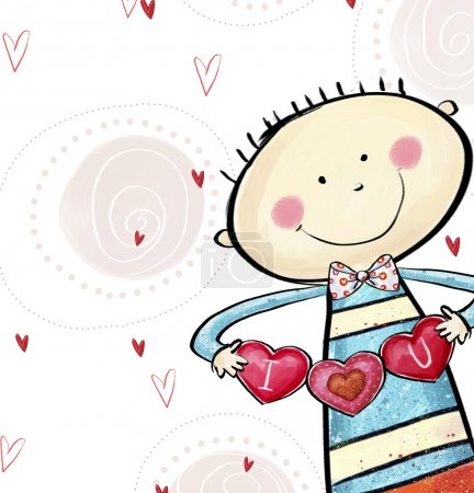 I love you postcard. Cute boy with the hearts. Valentine's day greeting card. Love background. Love illustration. Smiling boy with hearts in the hands.