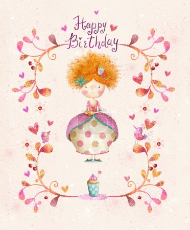Awesome Happy birthday card in cartoon style. Cute...