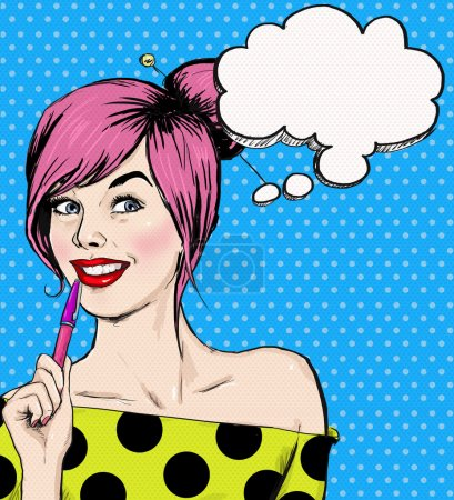 Fashion pop art illustration girl with pen in the hand with speech bubble. Student girl. Youth. Young student at the lesson. Young girl with thought bubble. Youth style poster. Pop Art girl.