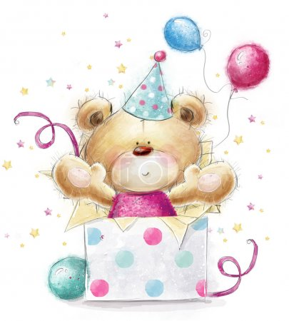 Photo for Teddy bear with the gift.Childish illustration in sweet colors.Background with bear and gifts and balloons. Hand drawn teddy bear isolated on white background. Happy Birthday card - Royalty Free Image