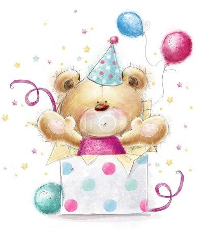 Foto de Oso de peluche con el regalo. Ilustración infantil en colores dulces. Fondo con oso y globos y regalos. Mano dibujada osito aislado sobre fondo blanco. Tarjeta de cumpleaños feliz - Imagen libre de derechos
