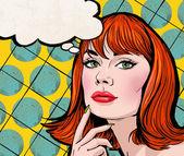 Pop-Art-Illustration der Mädchen mit der Sprechblase. Pop-Art-Mädchen. Einladung zur Weihnachtsfeier. Grußkarte Geburtstag. Hollywood-Filmstar. Jahrgang Werbeplakat. Mode-Frau mit Sprechblase. Denken Frau