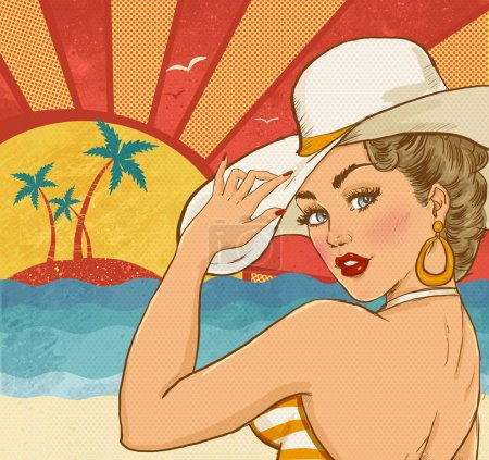 Comic illustration of girl  on the beach. Pop Art girl. Party invitation. Hollywood movie star.Vintage advertising poster. Vacations poster. Tourism poster. Sexy woman on the beach. Party on the beach