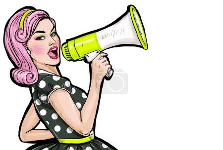 Photo pour Fille de pop art avec mégaphone. Femme avec haut-parleur. Jeune fille annonçant des rabais ou la vente. Temps d'achats. Protestation, réunion, féminisme, droits de la femme, protest femme, power girl. - image libre de droit