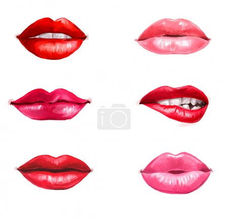 Lips set isolated on white background. design element.Red lips.Lips background. Lipstick advertisement. Smiley lips.Temptation, love, happy, lust,kiss lips. Healthy and white teeth.