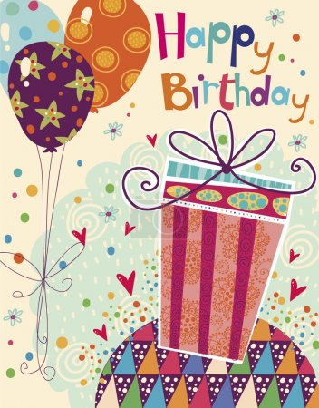 beau joyeux anniversaire carte de vœux avec les cadeaux et les ballons aux couleurs vives. vecteur caricature douce. carte d'anniversaire