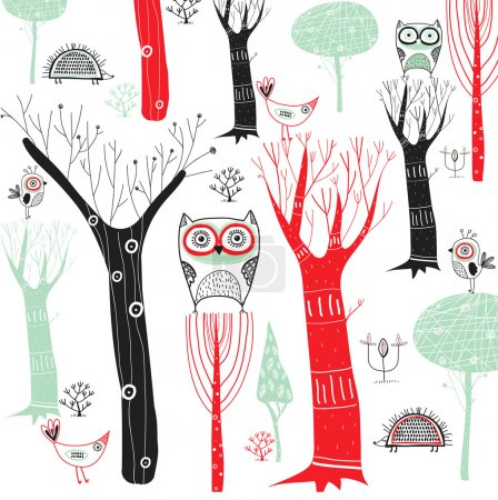 Cute vector background with colorful trees and birds. Cartoon forest with the owls and other birds .Bright natural background.Outdoor concept seamless pattern.
