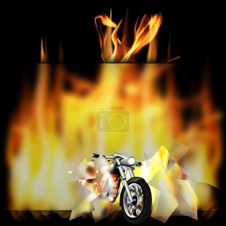 motorbike, chopper on fire