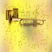 Vector illustration musical background trumpet with guitar strings on a gold background Sheet