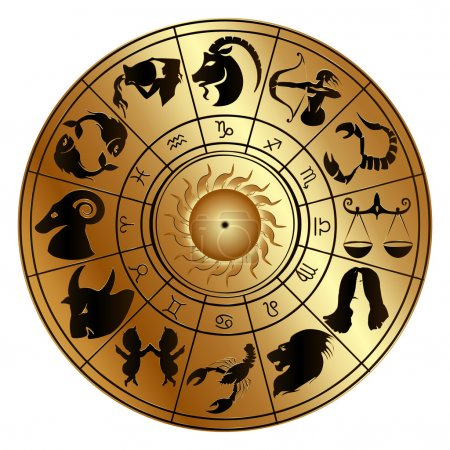 Illustration for Vector illustration of zodiac signs on a gold disk in the center of the star the sun, isolated object - Royalty Free Image