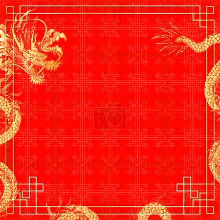 Template red background with dragon 2