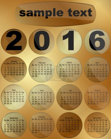 Calendar 2016 on a gold background