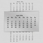 Vector illustration of a calendar month for 2016 pages in April against the background of the previous month and next month Week starts on Monday The image can be applied to any image